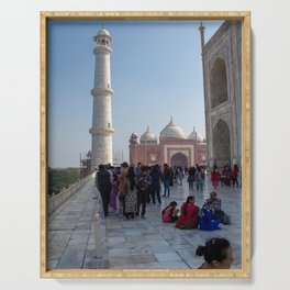 Hanging Out Behind the Taj Mahal Serving Tray
