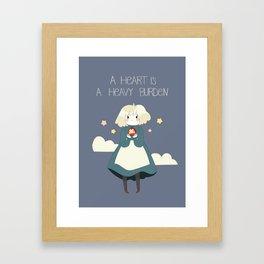 A heart is a heavy burden Framed Art Print