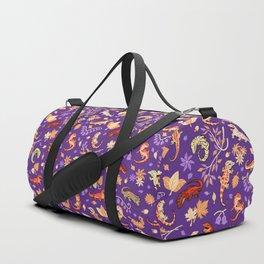 Autumn Geckos in purple Duffle Bag
