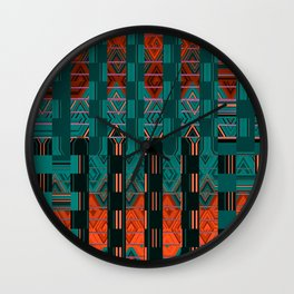 Abstract Geometric Glitch Green Neon Hyperspace Wall Clock