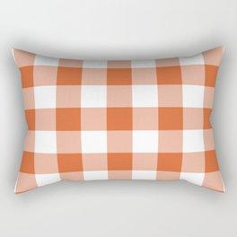 Modern Burnt Orange Gingham Plaid Rectangular Pillow
