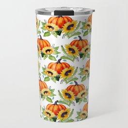 Pumpkin, sunflower, Fall berry, bee and moth Thanksgiving art Travel Mug
