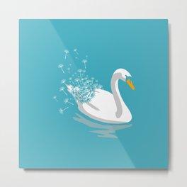 Swan Dandelion Metal Print