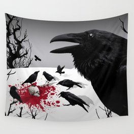 """""""Murder!"""" She Crowed (Gray) Wall Tapestry"""