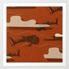 Whale Shark Orange #nautical #whaleshark Art Print