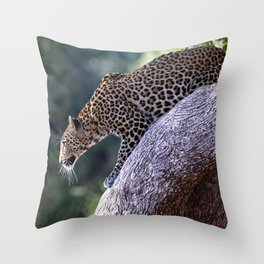 Leopard on the hop - Africa wildlife Throw Pillow