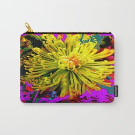 Yellow Spider Mum Abstract in Purple Carry-All Pouch