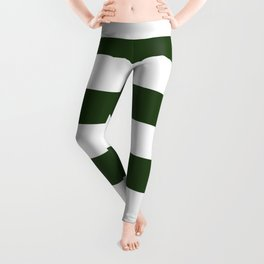 Large Dark Forest Green and White Cabana Tent Stripes Leggings