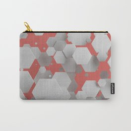 White hexagons on red Carry-All Pouch