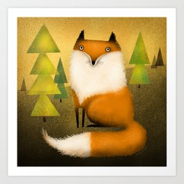 FOX IN WOODS Art Print