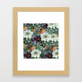 Dahlia Flowers Pattern Framed Art Print