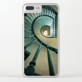 Wooden spiral staircase Clear iPhone Case