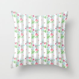 Ditsy Rose on grey stripes Throw Pillow