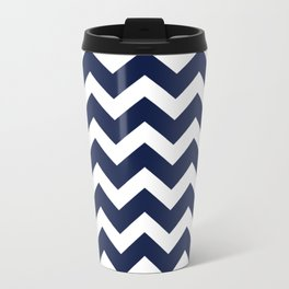 Indigo Navy Blue Chevron Metal Travel Mug