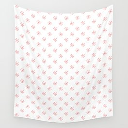 Coral Pink on White Snowflakes Wall Tapestry
