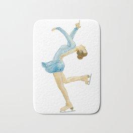 Girl in blue dress. Figure skater. Bath Mat