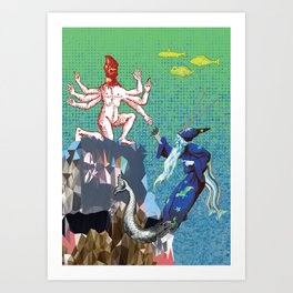 Water Wizard and Monster Man Art Print