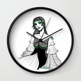Queen in Green Wall Clock