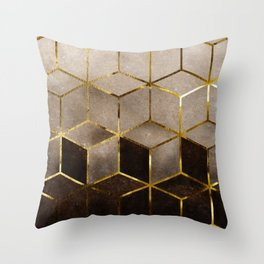 Gold Beige and Black Marble Gradient Cubes Throw Pillow