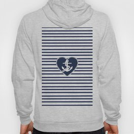 Modern navy blue white heart anchor nautical stripes Hoody