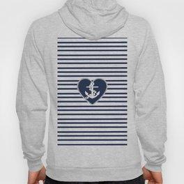 Modern navy blue white heart anchor nautical stripes Hoody