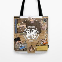 hexagon Tote Bags featuring HEXAGON by ASPIK STICKERS