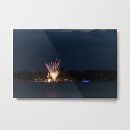 Fireworks Over Lake 11 Metal Print