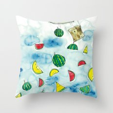 Why Watermelon Drop from Bottle? Throw Pillow
