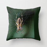 spider Throw Pillows featuring Spider by Dora Birgis