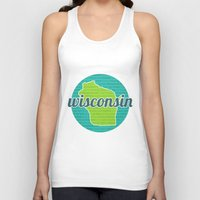 wisconsin Tank Tops featuring Words of Wisconsin by Katherine Paulin