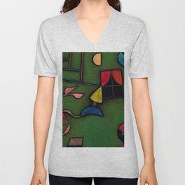 """Paul Klee """"Pflanze und Fenster Stilleben (Still life with Plant and Window)"""" Unisex V-Neck"""