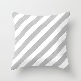 Diagonal Stripes (Silver/White) Throw Pillow