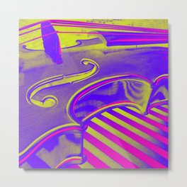 Neon Violin Pink n Yellow Metal Print