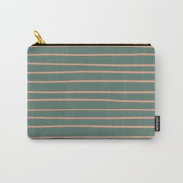 Earthen Trail Pink 4-26 Hand Drawn Horizontal Lines on Thistle Green 22-18 Carry-All Pouch