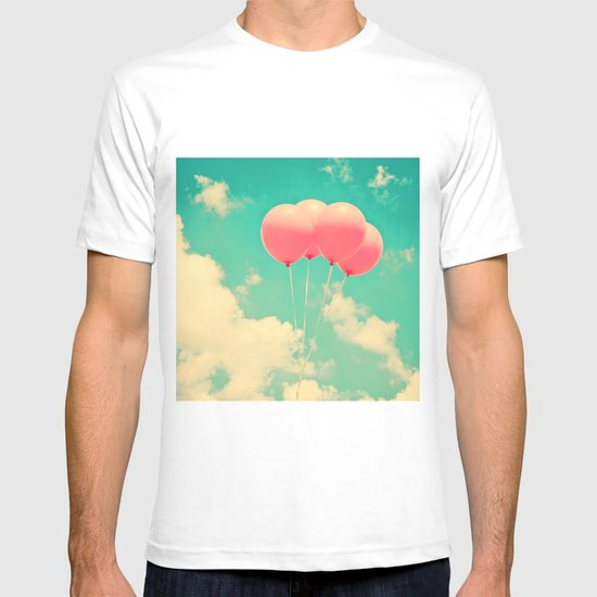 Balloons in the sky (pink ballons in retro blue sky) T-shirt