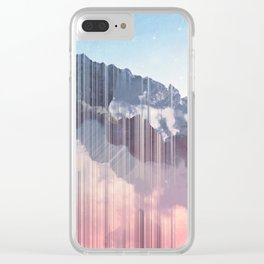 Glitched Mountains Clear iPhone Case