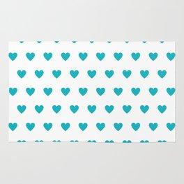 Polka dot hearts - turquoise Rug