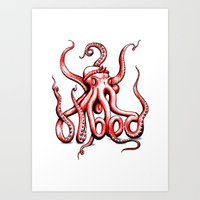 gangster Art Prints featuring Gangster Octopus by Milo Firewater