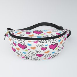 Pink Hearts and Flowers Fanny Pack