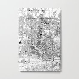 Phoenix White Map Metal Print