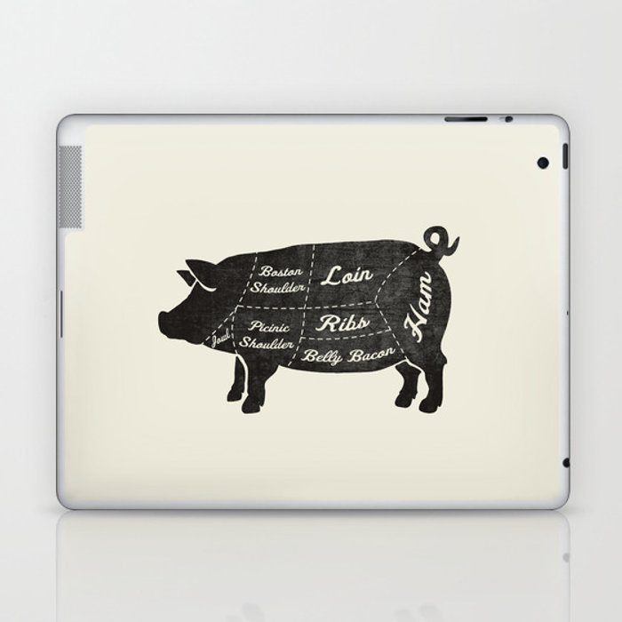 Pork Butcher Diagram Pig Laptop Ipad Skin By Kitchenbathprints