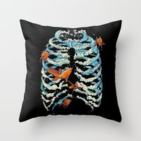 huebucket Throw Pillows featuring FISH BONE  by Huebucket