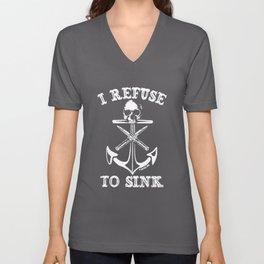Women_s Cartel Ink I Refuse to SinkSkull Switchblades Anchor Nautical anchor Unisex V-Neck