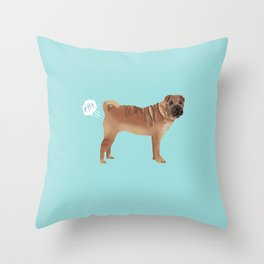 sharpei funny farting dog breed pure breed pet gifts Throw Pillow