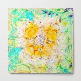 Watercolor Flower Painting, Modern Abstract  Bloom in Orange & Lime Green Metal Print