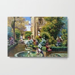 The Gardens of the Royal Alcazar, Seville, Spain by Manuel Garcia y Rodriguez Metal Print