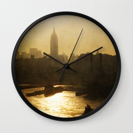 Vintage Empire State Building Sunrise Wall Clock