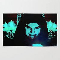 scary Area & Throw Rugs featuring Scary Man by Jussi Lovewell