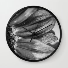 B&W Sunflower Wall Clock