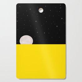 Black night with stars, moon, and yellow sea Cutting Board